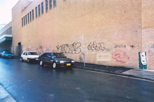 Newtown Plaza Building graffiti attack