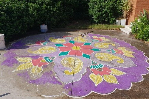 Painted Mural on concrete driveway Before removing