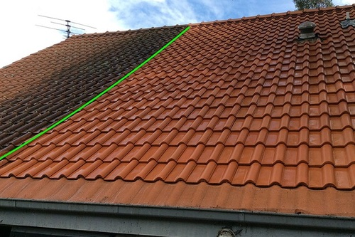 Tile roof cleaning before and after