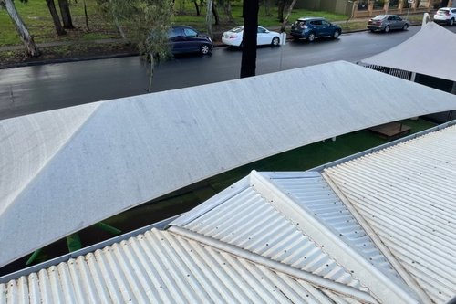 Gutter and shade sail clean