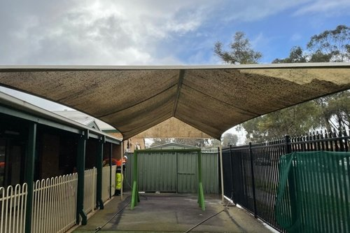 Awning clean before